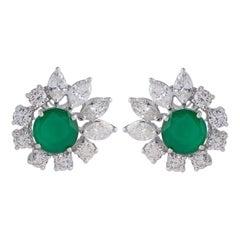 5.22 Carat Emerald Diamond 18 Karat Gold Stud Earrings