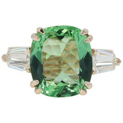 5.22 Carat Green Beryl and Diamond Ring in Rose Gold