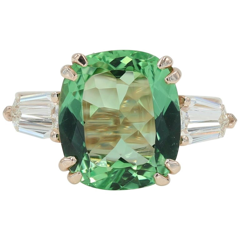 5.22 Carat Green Beryl and Diamond Ring in Rose Gold For Sale