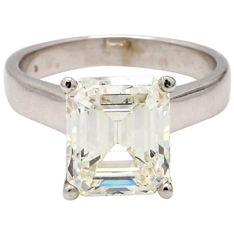 5.22 Carat J VVS2 Emerald Cut Diamond Ring, GIA Certified For Sale