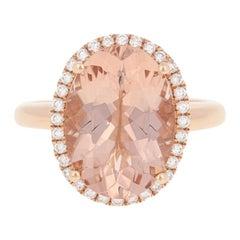5.22 Carat Oval Cut Morganite and Diamond Ring, 18 Karat Rose Gold Halo