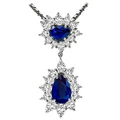 5.22 Carat Sapphire 4.50 Carat Diamond Pendant Gold Necklace