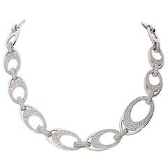 5.22 Carat White GVS Diamonds 18 Karat White Gold Link Necklace