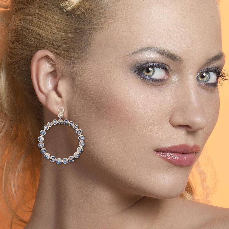 Modern Moonstone 18 Karat Gold Diamond Earrings For Sale