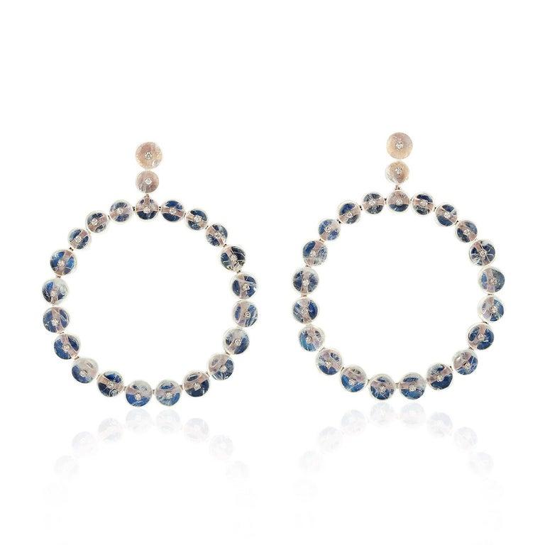Round Cut Moonstone 18 Karat Gold Diamond Earrings For Sale