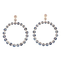 Moonstone 18 Karat Gold Diamond Earrings