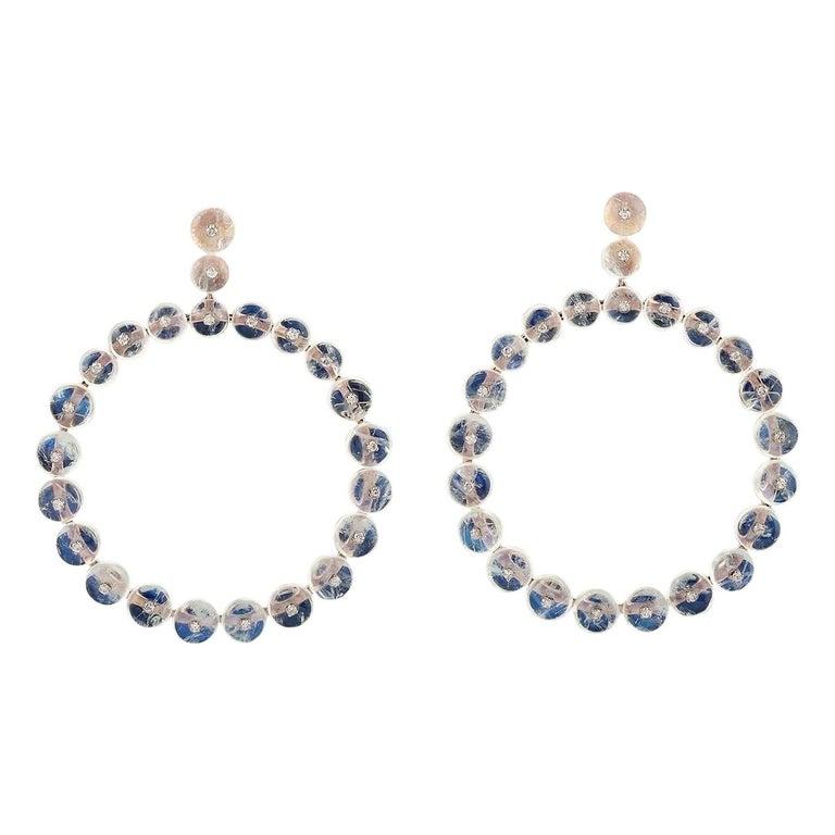 Moonstone 18 Karat Gold Diamond Earrings For Sale