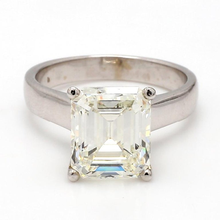 For sale is a 14K white gold 5.22ct Emerald cut diamond GIA certified ring.   CENTER STONE: 5.22ct J VVS2 Emerald Cut Diamond  METAL: 14K White Gold  GRAMS: 5.1  SIZE: 7.5  LAB REPORT: GIA #2155308257  REFERENCE NUMBER: 407145/DX0716
