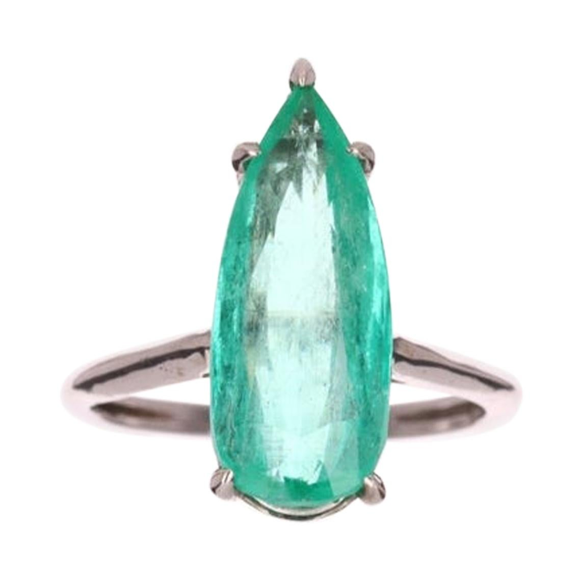 5.22cts 18K Colombian Emerald Pear Cut Solitaire White Gold Engagement Ring