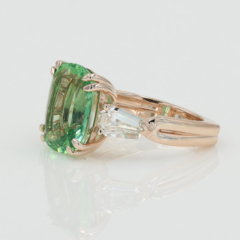 Cushion Cut 5.22 Carat Green Beryl and Diamond Ring in Rose Gold For Sale