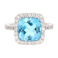 5.23 Carat Cushion Cut Blue Topaz Diamond 14 Karat White Gold Cocktail Ring