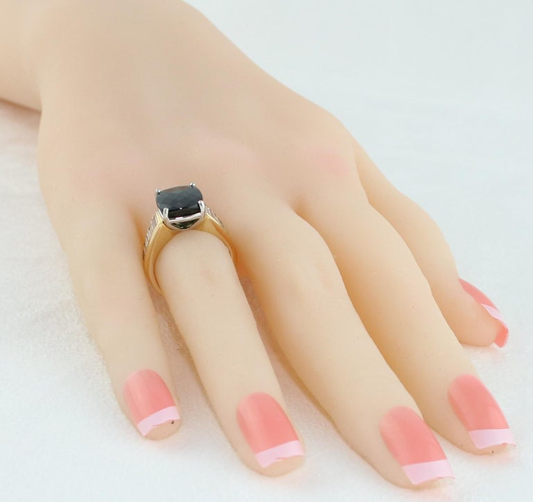 5.23 Carat Cushion Green Tourmaline Diamond Baguette Gold Ring For Sale 4