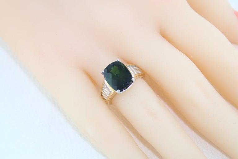 5.23 Carat Cushion Green Tourmaline Diamond Baguette Gold Ring For Sale 5