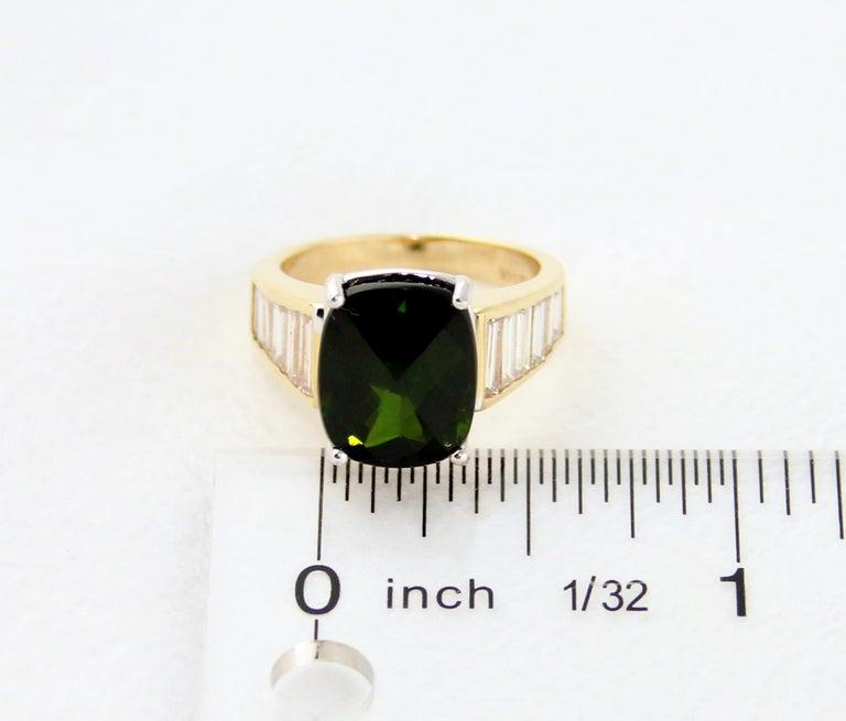 5.23 Carat Cushion Green Tourmaline Diamond Baguette Gold Ring For Sale 6