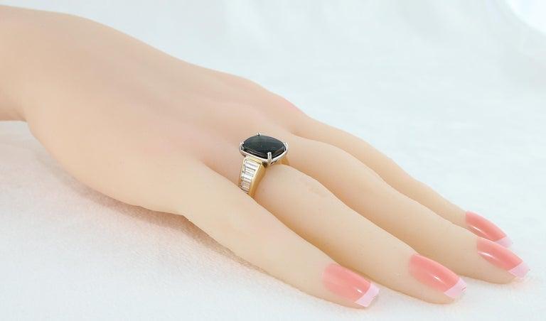 Cushion Cut 5.23 Carat Cushion Green Tourmaline Diamond Baguette Gold Ring For Sale