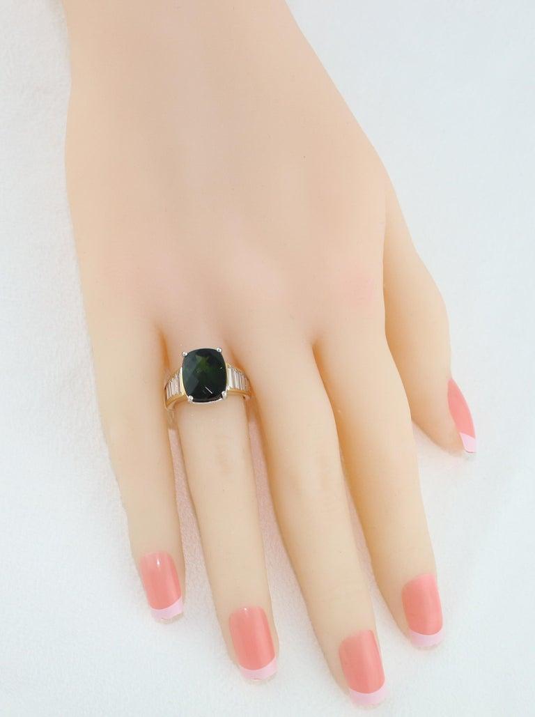 Women's 5.23 Carat Cushion Green Tourmaline Diamond Baguette Gold Ring For Sale
