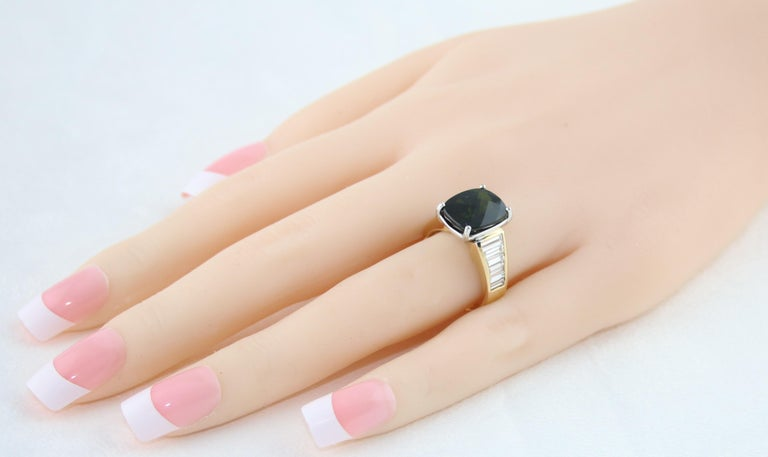 5.23 Carat Cushion Green Tourmaline Diamond Baguette Gold Ring For Sale 1