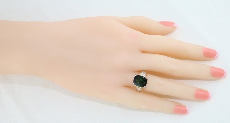 5.23 Carat Cushion Green Tourmaline Diamond Baguette Gold Ring For Sale 2