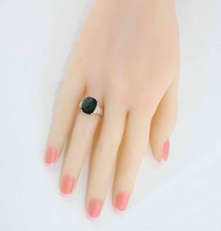 5.23 Carat Cushion Green Tourmaline Diamond Baguette Gold Ring For Sale 3
