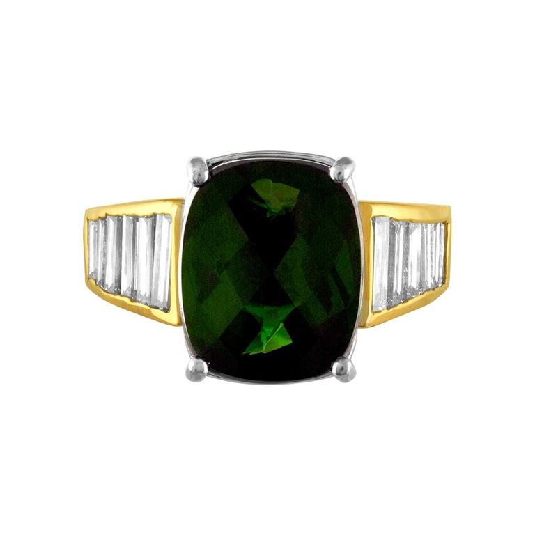 5.23 Carat Cushion Green Tourmaline Diamond Baguette Gold Ring For Sale