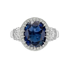 5.23 Carat Cushion Sapphire and Diamond Ring