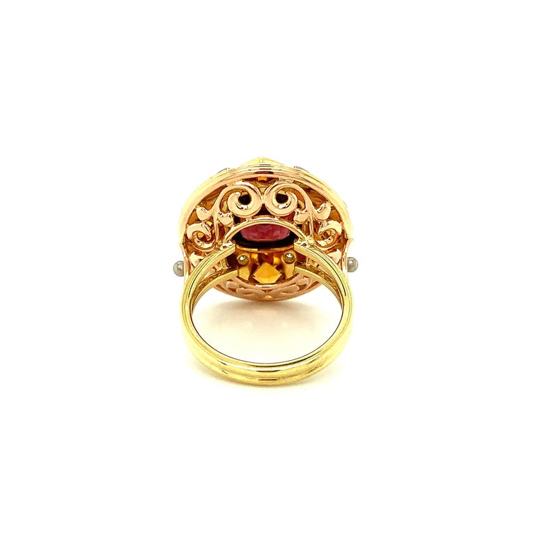 5.23 Carat Red Spinel, Citrine, Diamond, Tri-Color Gold Handmade Cocktail Ring For Sale 2
