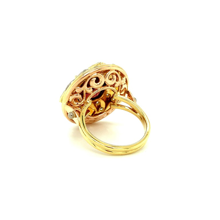 5.23 Carat Red Spinel, Citrine, Diamond, Tri-Color Gold Handmade Cocktail Ring For Sale 3
