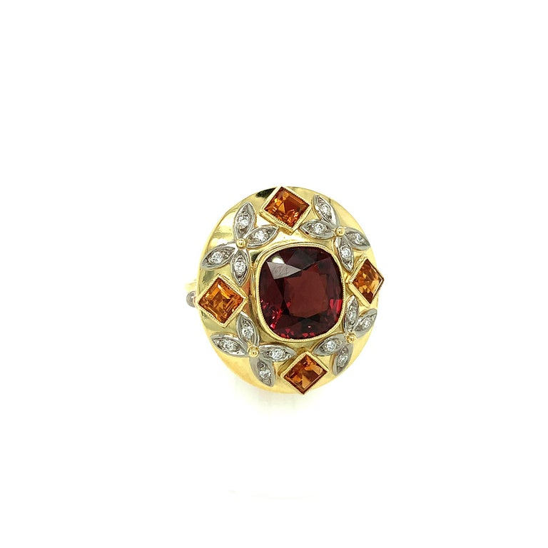 Artisan 5.23 Carat Red Spinel, Citrine, Diamond, Tri-Color Gold Handmade Cocktail Ring For Sale