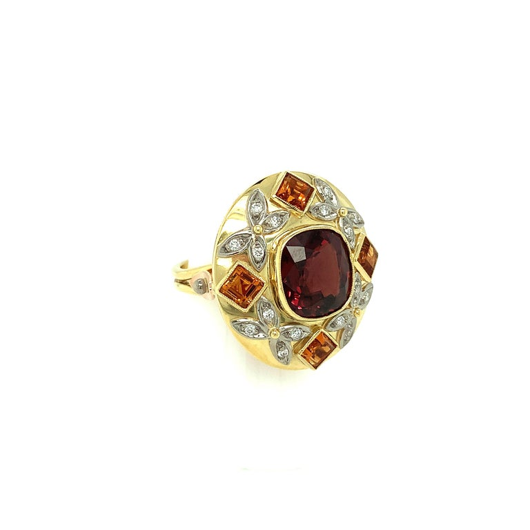 Cushion Cut 5.23 Carat Red Spinel, Citrine, Diamond, Tri-Color Gold Handmade Cocktail Ring For Sale