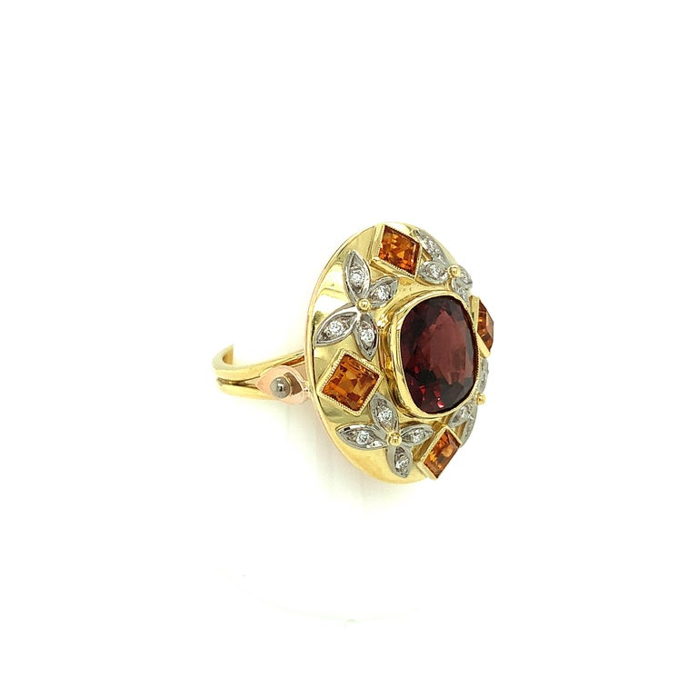 5.23 Carat Red Spinel, Citrine, Diamond, Tri-Color Gold Handmade Cocktail Ring In New Condition For Sale In Los Angeles, CA