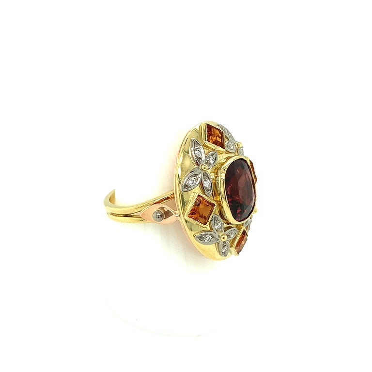 Women's 5.23 Carat Red Spinel, Citrine, Diamond, Tri-Color Gold Handmade Cocktail Ring For Sale