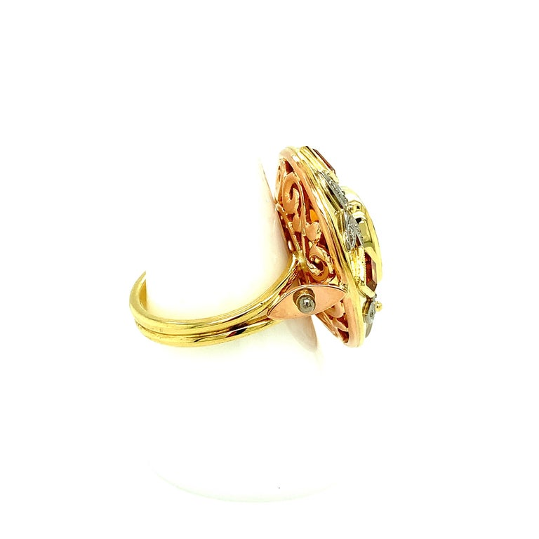 5.23 Carat Red Spinel, Citrine, Diamond, Tri-Color Gold Handmade Cocktail Ring For Sale 1