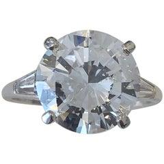 5.23 Carat Round Brilliant Cut Diamond E Color S12 Clarity HRD Certified