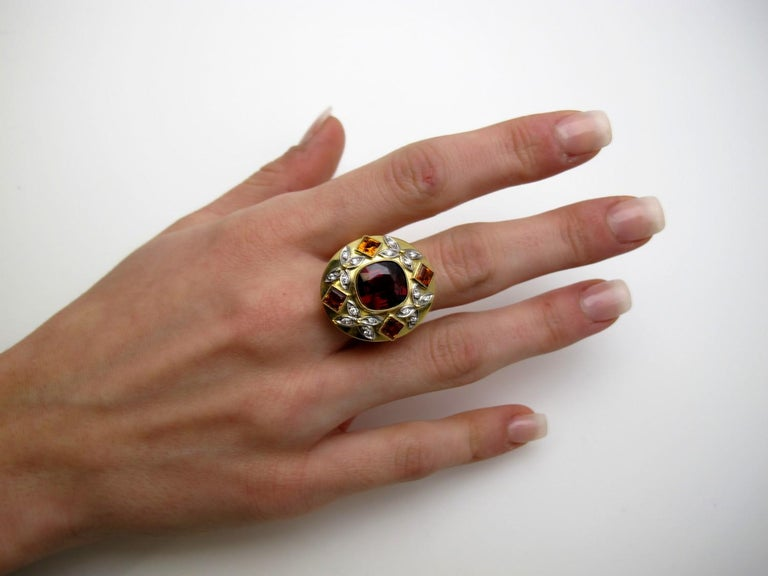 5.23 Carat Red Spinel, Citrine, Diamond, Tri-Color Gold Handmade Cocktail Ring For Sale 4