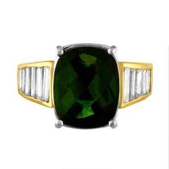 5.23 Carat Cushion Green Tourmaline Diamond Baguette Gold Ring