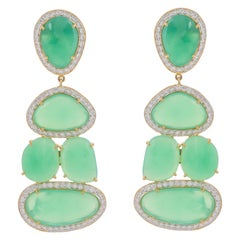 52.36 Carat Chrysoprase Diamond 18 Karat Yellow Gold Earrings