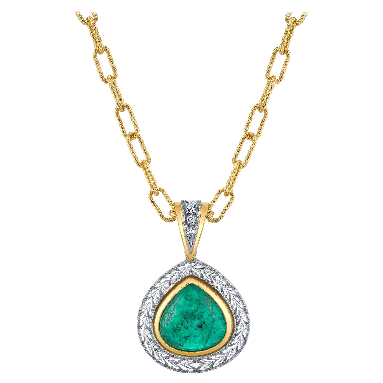5.24 ct. Emerald Pear Cabochon, Diamond Halo, Yellow, White Gold Drop Pendant
