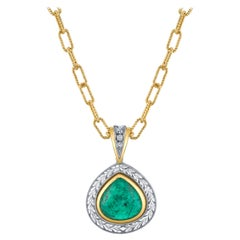 5.24 ct. Emerald Pear Cabochon, Diamond Halo, Yellow, White Gold Drop Pendant