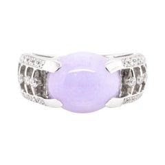 5.24 Carat, Natural, Lavender Jade and Diamond Estate Ring Set in Platinum
