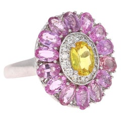 5.24 Carat Pink Yellow Sapphire Diamond 14 Karat White Gold Cocktail Ring