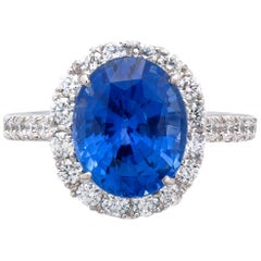 5.24 Carat Sri Lankan Sapphire and Diamond Ring