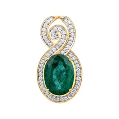 5.25 Carat Brazilian Emerald and White Diamond 18 Karat Yellow Gold Pendant