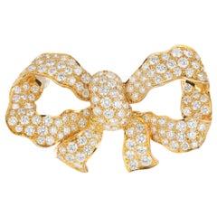 5.25 Carat Diamond Yellow Gold Bow Brooch