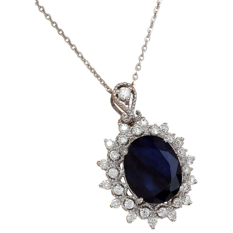 5.25 Carat Natural Sapphire 18K Solid White Gold Diamond Pendant Necklace  Item Type: Necklace  Item Style: Drop  Item Length: 16 Inches  Material: 18K White Gold  Mainstone: Sapphire  Stone Color: Blue  Stone Weight: 4.40 Carat  Stone Shape: Oval