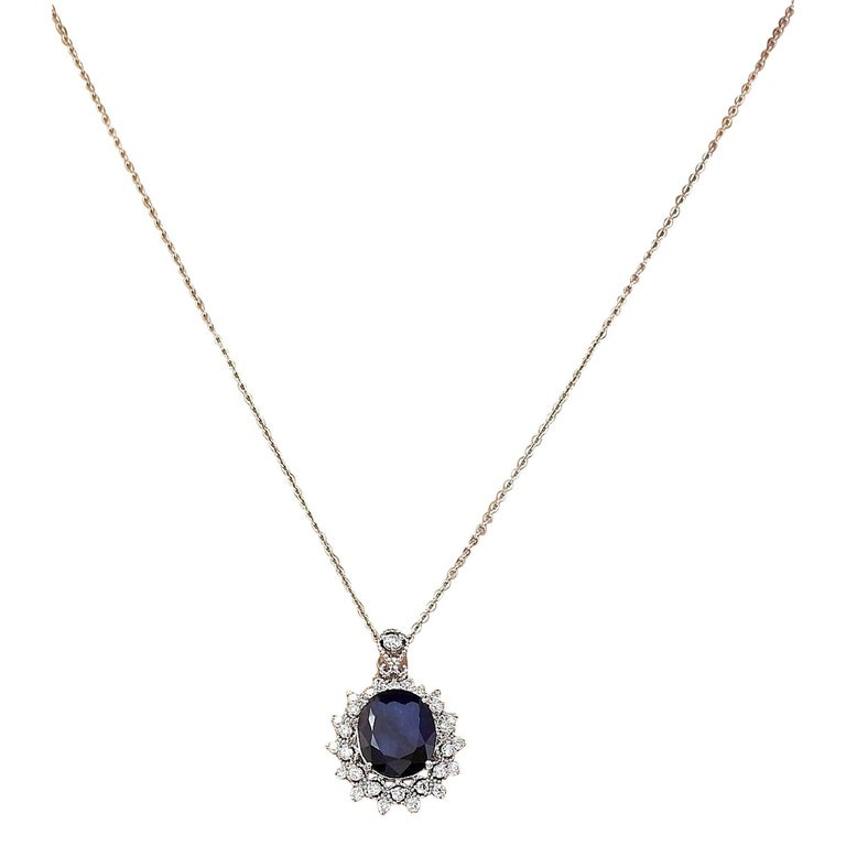 5.25 Carat Natural Sapphire 18 Karat Solid White Gold Diamond Pendant Necklace In New Condition For Sale In Los Angeles, CA