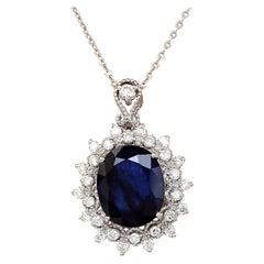 5.25 Carat Natural Sapphire 18 Karat Solid White Gold Diamond Pendant Necklace