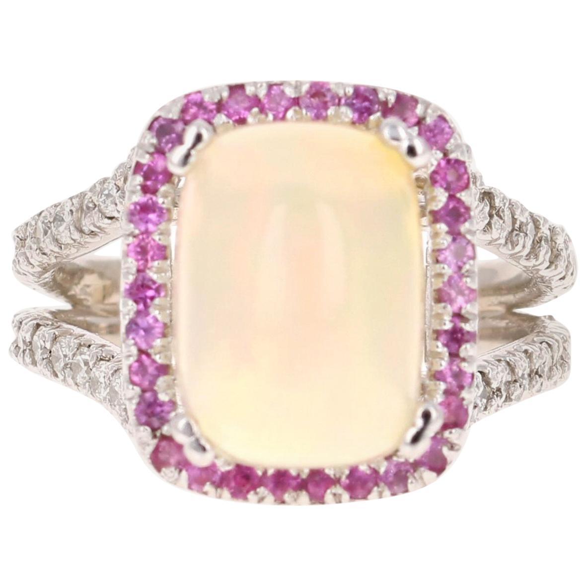 5.25 Carat Opal Pink Sapphire and Diamond 14 Karat White Gold Cocktail Ring