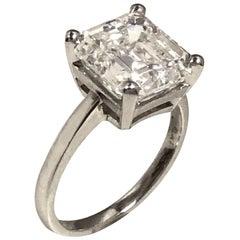 5.25 Carat Step Cut G VS2 Diamond Platinum Ring G.I.A.