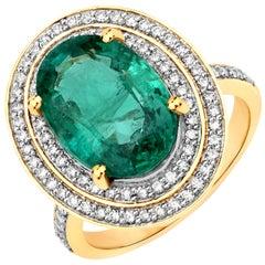 5.25 Carat Zambian Emerald and Diamond 18 Karat Yellow Gold Cocktail Ring