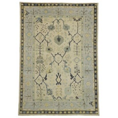 New Contemporary Turkish Oushak Area Rug with Transitional Style